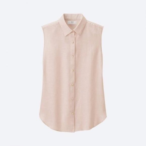Uniqlo Blush Sleeveless Linen Shirt Blouse
